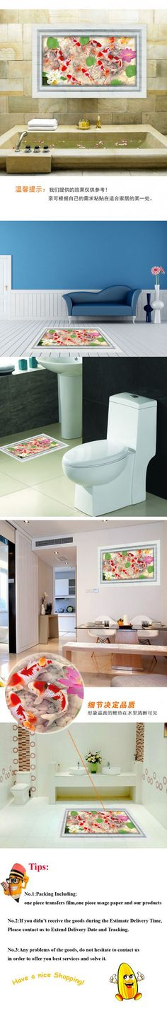 MJ8031A Latest 1 Different Elegant Koi Fish Beautiful 3D Floor Sticker Decal on the Ground Wall Sticker Home Decor for Room $6.49