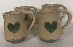 Rustic Primitive Country Farmhouse Green Cream Heart Mug Set Coffee Cups Pottery | eBay