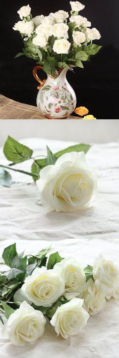 Wholesale Artificial Silk Latex Rose Flowers Wedding Bouquet Bridal Decoration Bundles Real Touch Flower Bouquets Realistic Flower Bouquet The Light Color Rose Bouquet - Dozen Pack (Cream Ivory, one Dozen-12pcs)