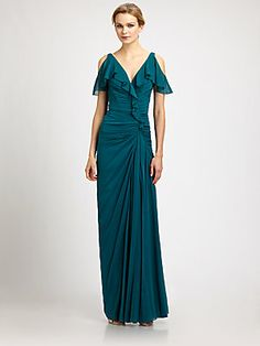 Badgley Mischka Silk Ruffle Gown  This looks like the dress I wore to our engagement party in 1978.