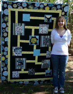 Urban Expressway quilt by Hannah Ruebel. Urban Expressway is a modern quilt pattern designed by Hannah and works great with modern fabrics. This simple pattern is great for quilters of all skill levels.  Get this free pattern: www.freequiltpatterns.info/quilt-pattern-designer---hannah-ruebel---urban-expressway.htm
