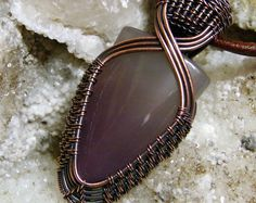 Browse unique items from DreaminnCopperDesign on Etsy, a global marketplace of handmade, vintage and creative goods. Bijoux Wire Wrap, Wire Wrapped Necklace, Wire Wrapped Pendant, Wire Jewelry Designs, Metal Jewelry, Jewelry Crafts, Wire Pendant, Pendant Jewelry, Wire Weaving Tutorial