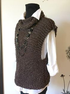 Women's Knit Sweater Vest Rocky Sweater Vest Knitting pattern by TheMailoDesign Sweater Knitting Patterns, Knitting Designs, Knit Patterns, Knitting Sweaters, Cardigan Bebe, Baby Cardigan, Baby Vest, Womens Knit Sweater, Knit Vest Pattern