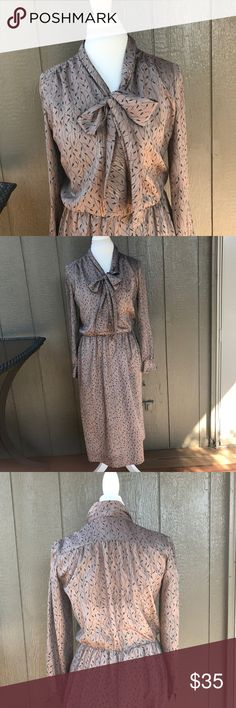"""Vintage Dress Vintage  Hand sewn No Stains Most likely a size 10 Measurements: Shoulders- 15.5"""" today  Hips- 14"""" Bust- 19"""" Length- 41.5"""" Not very stretchy From vintage mystery box bought from Poshmark Vintage Dresses Midi"""