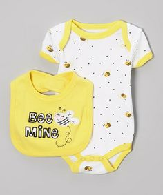 Look what I found on #zulily! Yellow & White Bee Bodysuit & Bib - Infant by Weeplay Kids #zulilyfinds