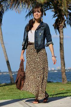 maxi falda de leopardo