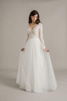 1/2 manches longue dentelle forme fourreau robe de mariée
