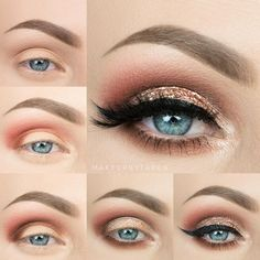 I used the 35O palette and used the two really shimmery peach colors for my lid and inner corner the light Browns for the crease and deepened the crease with the 3rd orange color down on the right hand side. Mac Makeup Looks, Love Makeup, Makeup Inspo, Makeup Inspiration, Stunning Makeup, Girls Makeup, Style Inspiration, Makeup Goals, Makeup Tips
