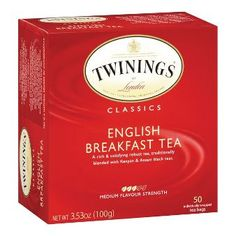 Twinings of London Classics English Breakfast Tea box of teabags, bilingual (English & French) labelling, 2016
