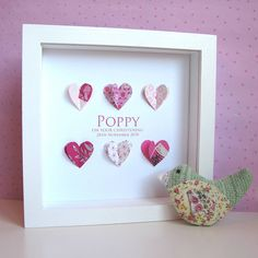 personalised christening paper hearts picture by sweet dimple… Heart Pictures, Crafts With Pictures, Box Frame Art, Box Frames, Frame Crafts, Craft Frames, Baby Frame, Quilling, Christening Gifts