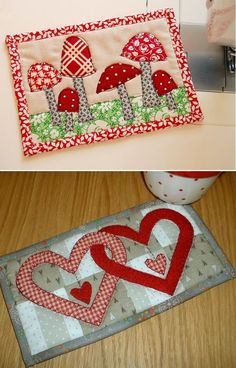 Mug Rug Patterns, Quilt Block Patterns, Applique Patterns, Applique Quilts, Quilt Blocks, Quilting Projects, Sewing Projects, Quilted Ornaments, Table Runner And Placemats