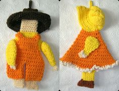 Bonnet Girl and Boy in Coveralls    Hand Crocheted Potholders in Fall Colors