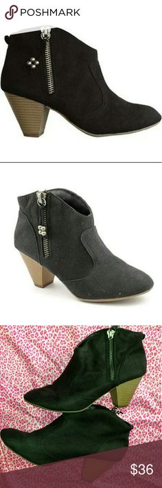 """Madden Girl Black Heel Booties Minimal wear with few small scuffs.  Inside zip, 2.75 """" stacked  Heel Madden Girl Shoes Heeled Boots"""