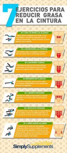 7 Ejercicios abdominales para reducir la grasa de la cintura. #abdominales #infografia