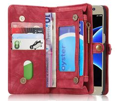 CaseMe Samsung Galaxy S7 Zipper Wallet Detachable 2 in 1 Folio Case Red