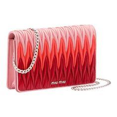 Miu Miu - Clutches And Little Bags - Pink - United States - Miu Miu Clutch, Miu Miu Handbags, Red Purses, Purses And Bags, Embellished Purses, Red Handbag, Luxury Bags, Fashion Bags, Polyvore
