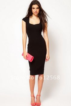 business attire | ... -sleeves-Formal-Work-Commute-Pencil-Dresses-Black-Business-Dress.jpg