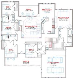 Floor plans aflfpw00531 1 story bungalow home with 4 bedrooms 3 bathrooms and 2 507 total - Summer house plans delight relaxation ...