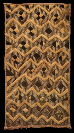 Africa | Man's Status Cloth from the Shoowa people of the Kuba Kingdom, DR Congo | ca. early 20th century | Raffia palm fiber, stem stitch and cut-pile embroidery
