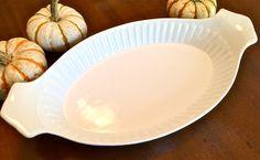 Large Vintage California Pottery Oval Au Gratin Baking Dish Casserole White Mid Century Modern by YatsDomino on Etsy