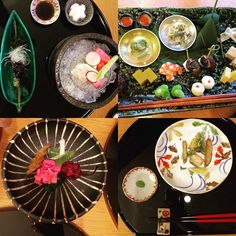 A few highlights from our beautiful kaiseki meal. #kaiseki #Japan #dinner #food #tradition #honeymoon #sjltpa2016 #sushi #fish #ceramics #eclectic by thomaspryseabel