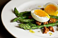 Salad of asparagus, soft-boiled egg and chorizo sausage MJs Kitchen