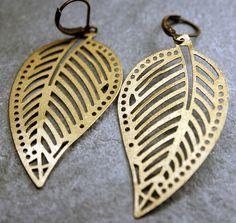 Leaf Earrings- Lightweight Brass.