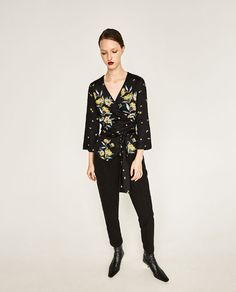 Image 1 of PRINTED KIMONO BLOUSE from Zara