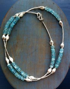 Aquamarine  and Sterling Silver necklace  www.chokerbali.com