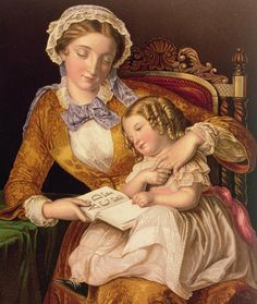 Reading; Mother And Child; Alphabet; Ringlet Painting - The First Lesson by Samuel Baruch Halle