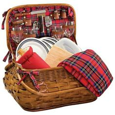Everything but the food is included in this bamboo picnic basket set with full service for four. Bamboo and rattan construction. Style # at Lamps Plus. Picnic Time, Summer Picnic, Picnic Basket Set, Picnic Ideas, Picnic Essentials, Tartan Fabric, Selling Furniture, Company Picnic, Serving Utensils