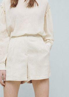 Getextureerde katoenen shorts
