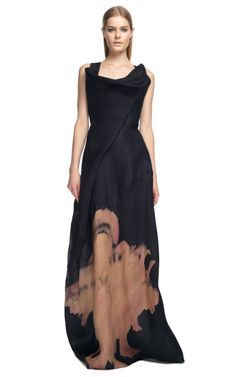 Donna Karen Sculpted Neckline Evening Gown