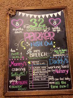 32 week pregnancy chalkboard!
