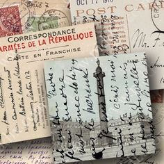 I'm a sucker for messy old postcards with sideways writing, weird cancellations, and stamps on stamps. Postcards in this digital collage sheet are from Germany, France, and Italy circa 1900. Printable 447 by piddix.
