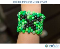 If your kids like Minecraft (and I bet they do), then they are going to love this beaded creeper cuff. My son has been wearing it non-stop since we made it.