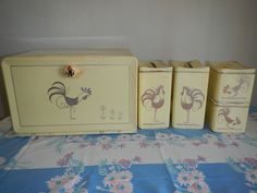 Mid-Century Country Lemon  Ransburg Rooster Bread Box (1) with Canister Set (8) / Kitchen by GingerandPicklesmisc on Etsy