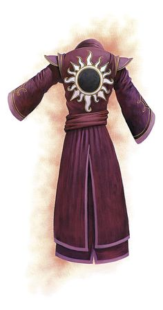 Somewhat how Nishant's official Advisor robes look but with a silver crescent moon on the back instead of a sun and blue/white color theme