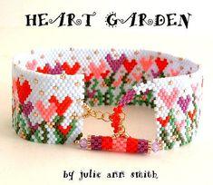 Julie Ann Smith Designs HEART GARDEN Odd Count Peyote Bracelet