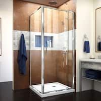 DreamLine Flex 36 in. D x 36 in. H Framed Pivot Corner Shower Enclosure in Chrome and Black Shower - The Home Depot Corner Shower Enclosures, Frameless Shower Enclosures, Baño Home Depot, Corner Shower Base, Dreamline Shower, Black Shower, Shower Kits, Shower Ideas, Thing 1