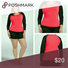 Torrid Raglan Rash Guard 2x plus size xxl Top only  The perfect rash guard for beating the sun! The eye-popping neon red body is a striking contrast to the sporty black raglan sleeves. Constructed with swim material so you can lounge without getting burned, and swim without worrying about coverage.   Nylon/spandex Hand wash cold, line Dry IMPORTED  plus size rash guard torrid Swim