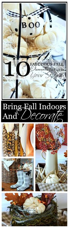 DECORATING WITH NATURAL FALL ELEMENTS Bringing the beauty of fall indoors. Lots of decorting ideas!
