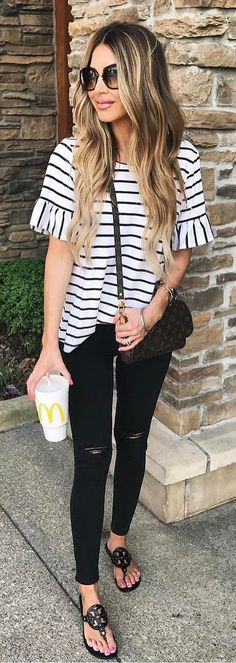 #summer #outfits This Striped + Ruffle Tee Is So Cute