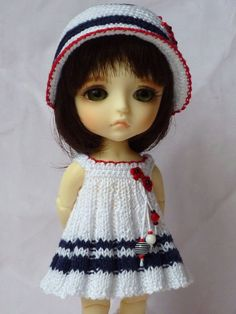 Marine dress and  hat for Yellow Lati by vrMaryshka on Etsy, $28.00