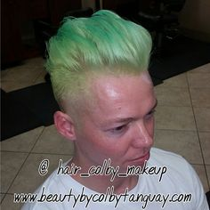 @ocrider09 came in ND let me do whatever I wanted as long as I took the sides really short!!! So #neongreen with #neonblue tips happened!!! Came out soo good!!! #beautybycolbytanguay#pravana #mensstyling #pompadour #ochairstylist