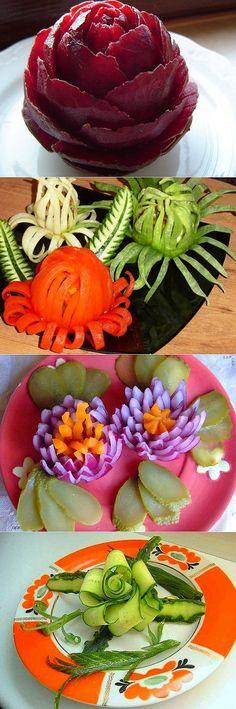 Flower Appetizers: For Anyone - Food Carving Ideas Vegetable Decoration, Food Decoration, Deco Fruit, Food Garnishes, Garnishing, Food Sculpture, Fruit And Vegetable Carving, Food Carving, Bento Recipes
