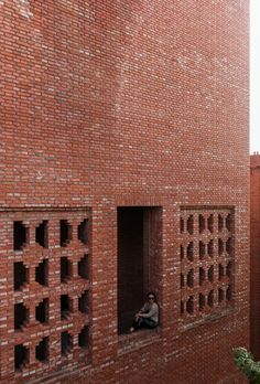 Dong Yugan uses brick to form sculptural surfaces and playful structures at Red Brick Art Museum Brick Art, Concrete Stone, Brick Facade, Brick Patterns, China Architecture, Brick Architecture, Architecture Details, Contemporary Architecture, Interior Architecture