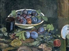 Vanessa Bell Artist-- Still Life of Plums, Oil on Canvas, Collection: Charleston Vanessa Bell, Dora Carrington, Virginia Woolf, Painting Still Life, Still Life Art, Plum Art, Duncan Grant, Bloomsbury Group, Post Impressionism