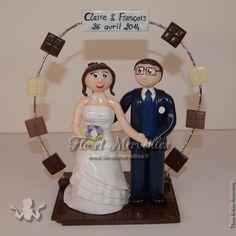 Wedding cake topper / figurines mariage personnalisées - thème chocolat
