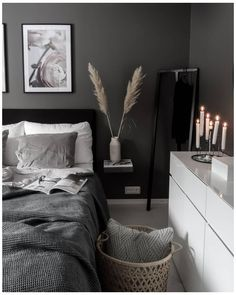 #dark #minimalist #bedroom #darkminimalistbedroom White Bedroom Decor, Room Ideas Bedroom, Home Decor Bedroom, Modern Bedroom, Grey Bedrooms, Scandi Bedroom, Modern Minimalist Bedroom, Dark Home Decor, Scandi Home